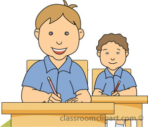 Two Student sitting at Desk in a Classroom