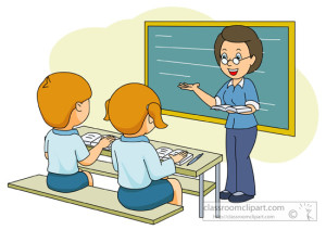 teacher with students in a classroom clipart