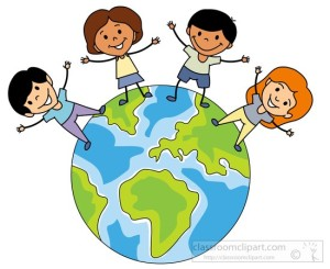 multicultural children around the globe clipart