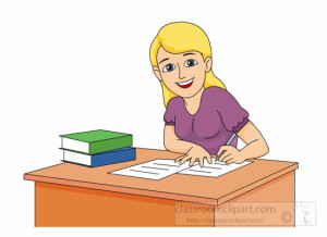 Teen Girl Doing Study Work Clipart